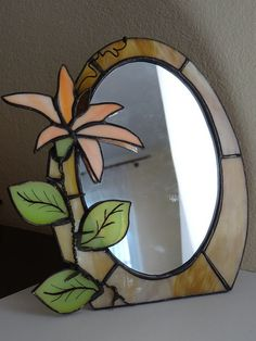 Flower TiffanyStyle  Stained Glass  Mirror