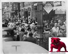 1936 L.A. Garment workers strike on e.side of Broadway Los Angeles California