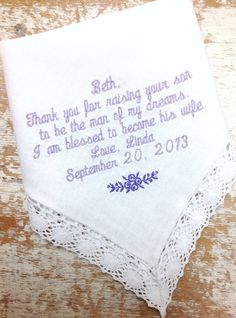 A personal favorite from my Etsy shop https://www.etsy.com/listing/162419706/embroidered-wedding-handkerchief
