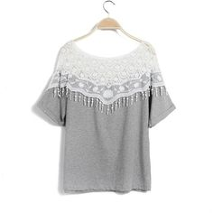 Fashion Women Blouse Crochet Lace Batwing Sleeve Shirt Embroidery... (275 UAH) ❤ liked on Polyvore featuring tops, blouses, grey blouse, boatneck shirt, sexy shirts, boat neck shirt and batwing sleeve shirt