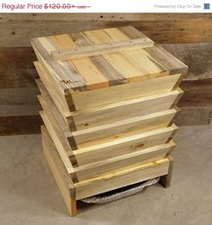 ON SALE 5 Bin Worm Composter (Vermicomposter) in beetle kill pine / Ready To Assemble / eco gift, compost, upcycled The Beetles, Red Wigglers, Stacking Bins, Stain On Pine, Yard Waste, Blue Stain, Worm Farm, Worm Composting, Wood Surface