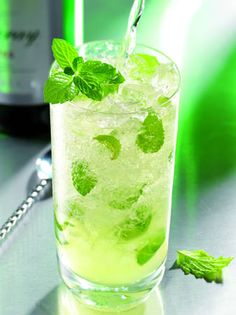 Dreaming of a mojito right now...  Ingredients:  35ml measure of   Gin (43% ABV)    Half measure lemon or lime juice    1/3 measure sugar syrup    8 mint leaves  Crushed ice  Appletiser/sparkling apple juice    Garnish  Sprig of mint    Preparation:    Crush mint leaves with third of a measure of sugar syrup in hi-ball glass, add crushed ice, pour in gin and lemon or lime juice, stir and top up with Appletiser, garnish with sprig of mint.