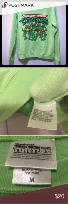 NICKELODEON TMNT Lime Green Sweater - M Pre-💕 Nickelodeon Sweaters Crew & Scoop Necks