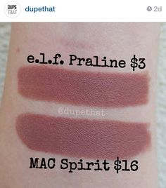 "Dupe for Mac Spirit = ELF Praline, from ""dupethat"" on Instagram."