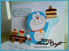 FRONT: The front cover is a commonly seen Doraemon on t-shirt, wallpaper as well as cards. I've adapted this design too this time ^^ INSI. Doraemon, Paper Quilling Patterns, Birthday Cards, Greeting Cards, Bows, Wallpaper, Party, Events, Dance