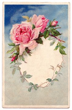 Vintage Graphic - Beautiful Roses Wreath Frame