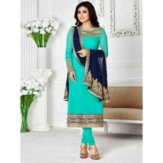 Beneficent Wedding Designer Embroidery Sky Blue Georgette Salwar Suit