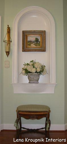 A display niche. Stool - fabric and chair tassels by Kravet Fabric. Silk flowers by NDI - Natural Decorations, Inc. By Lena Kroupnik, designer #Designer #LenaKroupnik