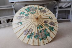Rice Paper Umbrella Parasol Birds and Flowers Asian Japanese Chinese Vintage