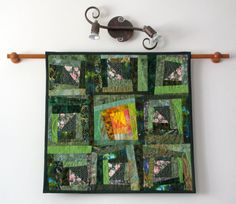 Wall Hanging Abstract Quilt Art Wonky Log Cabin by cindyrquilts, $325.00