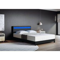 Wade Logan Mallory Upholstered Platform Bed & Reviews | Wayfair Queen Platform Bed, Upholstered Platform Bed, Upholstered Beds, Black Platform Bed, Bed With Led Lights, Black Bedroom Design, Hypebeast Room, Double Bed Size, Bed Reviews