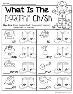 $ April Printable Packet - Kindergarten Literacy and Math. Digraphs (ch/sh)! [Ms. Makinson]: