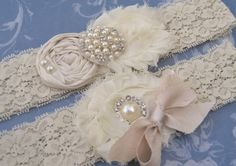 Vintage Bridal Garter Wedding Garter Set Toss Garter included  Ivory with Rhinestones and Pearls  Custom Wedding colors. $30.00, via Etsy.