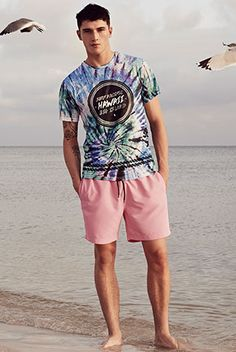 Tie dye printed t-shirts are a S/S15 wardrobe must have, finish the look with a pair of drawstring block coloured shorts.