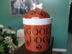 Dog Treat jar container storage turquoiseTan by PorcelainChinaArt, $22.99