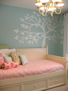 Teal paint with green and pink bedding/accents