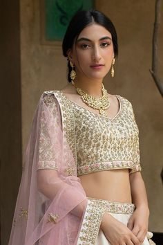 Buy Cream Raw Silk Bridal Lehenga Choli with Double Dupatta @ the best price from saree.com by asopalav  Bridal Lehenga Choli, Special Occasion, Sari, Indian, Crop Tops, Skirts, How To Wear, Women, Cream
