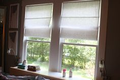 Roman shades are really pretty simple to make. O.k......there is a little math to do, but other than that they're fairly easy. The best part...