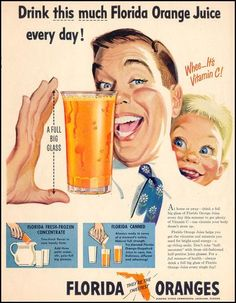 Vintage breakfast  1951 ad for Florida orange juice