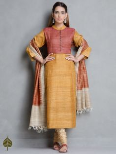 Buy Mustard Rust Tussar Gicha Pleated Neck Kurta by Jaypore Apparel Tunics &… Churidar Designs, Kurta Designs Women, Kurta Patterns, Dress Patterns, Pakistani Outfits, Indian Outfits, Simple Indian Suits, Silk Kurtas, Dress Neck Designs