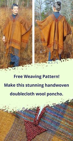 Free Weaving Pattern: Handwoven Serape Poncho by Julia Weldon 2019 Free weaving pattern weave this stunning doublecloth wool poncho The post Free Weaving Pattern: Handwoven Serape Poncho by Julia Weldon 2019 appeared first on Weaving ideas. Weaving Yarn, Tablet Weaving, Tapestry Weaving, Hand Weaving, Loom Scarf, Weaving Patterns, Stitch Patterns, Knitting Patterns, Weaving Projects