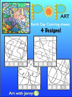 """Let your students have some fun coloring these beautiful/ unique """"Pop Art"""" Earth day coloring sheets!!!"""