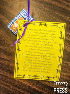 Free parent poem for back to school