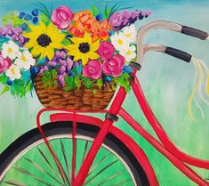 Bike with Flower Basket Acrylic Painting Tutorial by Angela Anderson on YouTube #bike #redbycicle #acryliconcanvas #canvaspaintingtutorial