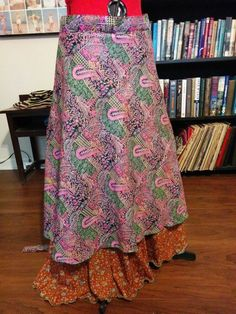 """Buy it now! NWT True PLUS Size Reversible Long Magic Wrap Skirt Waist From End to End 60-64"""" #Wevez #WrapSarong"""