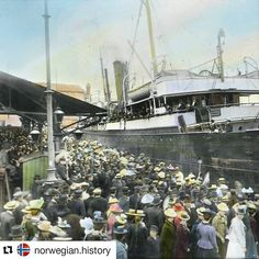 #tbt #tbthursdays #tbthursday #norwegian #Norwegianheritage #norwegianculture #sonsofnorway #immigration  #Repost @norwegian.history (@get_repost)  Norwegian emigrants waved off to America. The ship Montebello in Kristiania (Oslo) - ready for departure to Hull in England - via Kristiansand - in 1901. The typical emigration route for many Norwegian emigrants was with a ship from Norway to Hull then a train from Hull to Liverpool and lastly a ship from Liverpool to North America. Hand-coloured…