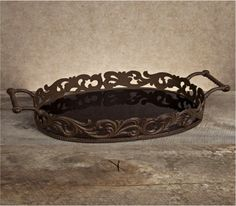 Med Oval Tray w/Antiqued, Glas