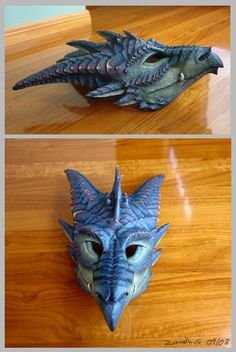 Blue Dragon Mask #Blue.  My nephews would think that i was the coolest aunt ever,  if i made this for them!!!