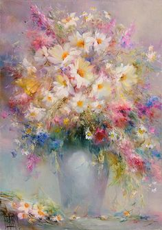 Extremely beautiful flower bouquet painting. Just melts with romance!
