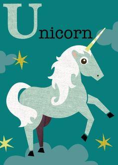Letter U unicorn by JennSki on Etsy Majestic Unicorn, Real Unicorn, Unicorn And Glitter, The Last Unicorn, Magical Unicorn, Rainbow Unicorn, Unicorn Party, Baby Unicorn, Unicorn Print