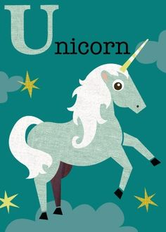 Letter U unicorn by JennSki on Etsy, $14.00
