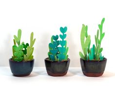 Three (3) Petite Potted Paper Plants (Hand Cut Paper Flower)