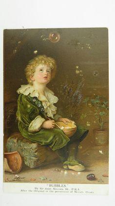 1908 Vintage Advert Postcard Pears Soap Bubbles John Millais Painting Vanitas