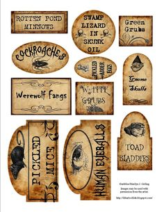 Halloween jar labels