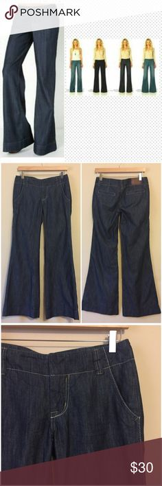 "Anthropologie Level 99 Wide Leg Denim Trousers 27 Anthropologie Level 99 Wide Leg Denim Trousers --- size 27 --- 15.5"" waist (flat) --- 34"" inseam --- 41"" length --- 7.75"" front rise  --- 25.5"" leg opening --- 59% cotton 41% lyocell --- fabric does not have stretch --- faux back pockets --- 2 front pockets --- two hook and zipper fly closure --- very good pre-loved condition, no imperfections Anthropologie Jeans Flare & Wide Leg"