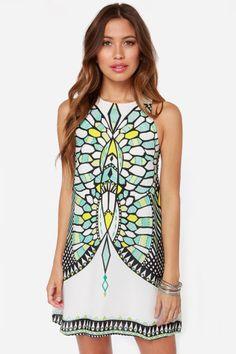 Honorable Dimension White Mirror Print Dress