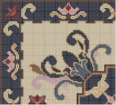 Bueno, aquí les dejo el esquema y la carta de colores de la alfombra que ha ganado el primer premio de este año. Código de colores (Anchor.)...