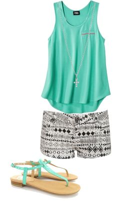 Get a similar look with CAbi Chic Tank and contribute at the same time to The Heart of CAbi Foundation. Tribal print shorts, plain tank, mint strappy sandals.