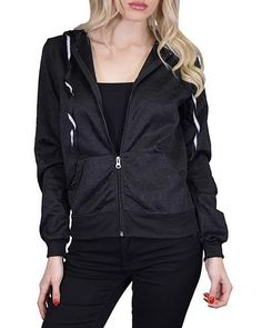 Full Sleeve Heart Embossed Front Zipper Hood Jacket with Ribbed Hems-id.31157b