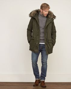 Mens Premium Sherpa Lined Parka | Mens Outerwear & Jackets | Abercrombie.ca