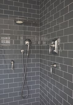 herringbone shower gray subway tile - Google Search