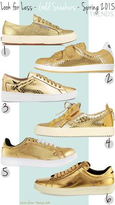 official photos 2aeeb 1c975 Look for Less - Best Metallic Gold Sneakers Under  200. Michael Kors Gold  SneakersAdidas Shoes OutletNike ...
