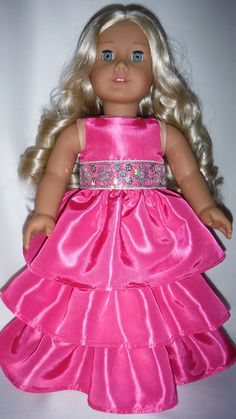 American Girl Doll Clothes  Pink Taffeta Ruffled by susiestitchit, $18.00