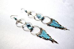 Long Peruvian Chandelier Earrings (Sky Blue and Fulvous Brown) - Peruvian Earrings, Chandelier Earrings, Long Earrings, Peruvian Jewelry