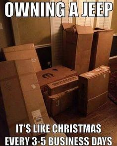 This is completely accurate...Except it's all year round! 😂😂😂 Anyone else come home to parts on your door step daily??? Comment below ⬇️  #parts #4x4parts #jeeps #christmasallyearround #jeepparts #jeeps #jeepnation #beef #ruffstuff  #ruffstuffspecialties #offroad #4x4 #4wheel #ruffstuffornostuff #jeepproblems #truckproblems