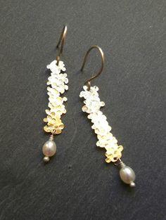 """ANNeLIESA e-shop bijoux - Boucles d'oreilles """"corail"""" perles de culture et argent"""